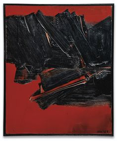 Pierre Soulages N. 1919 PEINTURE 46 X 38 CM, 14 MAI 1961 SIGNED; SIGNED, TITLED AND DATED 61 ON THE REVERSE; OIL ON CANVAS. EXECUTED IN 1961