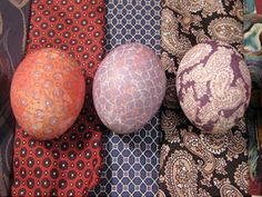 Tie-dyed Easter Eggs - Your Dad's ugly paisley ties - repurposed!