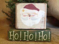 Primitive Country Santa Ho Ho Ho! Christmas Holiday Wood Shelf Sitter Block Set  #HoHoHO