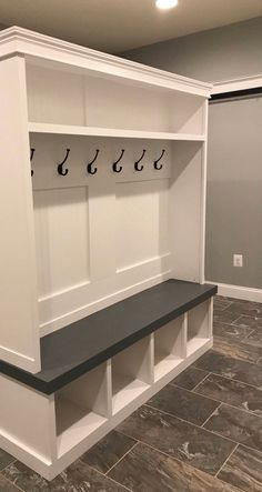 Entryway locker perfect for any Mudroom 78 depth this beauty is painted in Benjamin Moore and the seat Red oak is stained weathered gr… – Mudroom Mudroom Cubbies, Mudroom Cabinets, Mudroom Laundry Room, Storage Cabinets, Bench Mudroom, Ikea Mudroom Ideas, Diy Storage Shed Plans, Entryway Bench Storage, Bench With Storage