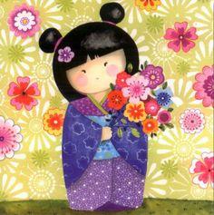 Chinita florida Artist Painting, Painting & Drawing, Pach Aplique, Art Fantaisiste, Tea Bag Art, Art Carte, Art Asiatique, Diy Papier, Asian Doll