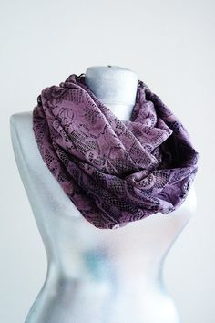 Scarf - Handmade Floral Lace Infinity Scarf - Summer Lace Scarf - Damson Purple on Etsy, $14.90