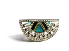 Vintage Pierre Bex Art Deco Revival Pin, Enamel Teal and Silver Brooch, Collar Brooch, Lapel Pin on Etsy, $28.00