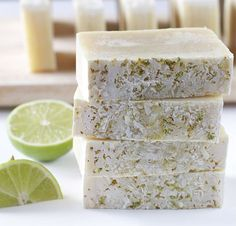 Coconut-Lime Soap This soap is made with coconut milk an coconut-lime fragrance oil. With the added chopped coconut and lime zest exfoliant on the edge, these bars smells like summer on a beach!