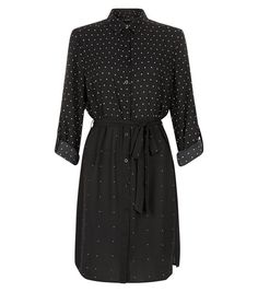 New Look Black Polka Dot Shirt Dress