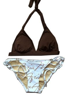 66f191c4d6d00 BCBG MAX AZRIA NEW Halter Top   Signature Bottom Bikini Swimsuit w Gold  Icons XS