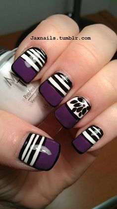 Love these black and purple nails