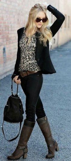 Amazing black and leopard combo fall fashion