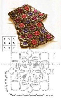 Ideas For Crochet Granny Square Scarf Scarves Beautiful Shawl Crochet, Crochet Scarf Diagram, Crochet Flower Scarf, Bonnet Crochet, Crochet Diy, Crochet Motifs, Crochet Gloves, Crochet Stitches Patterns, Crochet Chart