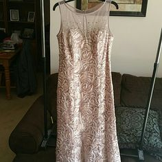NWOT Stunning Ignite Evenings Dress Stunning lace and beaded formal dress in a beautiful nude Rose Beige color. This is new from 2015 and never worn. I was to be mother of groom and my son eloped. Was never able to wear this gorgeous dress. I did take the tags off but this dress I assure you has never ever been worn. Bought brand new from Macys. Pictures do not do this dress justice Ignite Evenings by Carol Lin Dresses Wedding