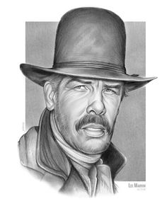 Drawing - Cowboy Lee Marvin by Greg Joens , Joseph John Thomson, Jack Nance, Cat Ballou, Lee Marvin, Michael Landon, Bristol Board, Cowboy Art, Graphite Drawings, Free Graphics