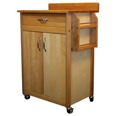 @Overstock - Add rustic style and much-needed functionality to your kitchen with this Catskill Craftsman cart featuring a butcher block top, towel bar and locking caster wheels. This cart features an oiled finish over sustainably-harvested yellow birch hardwood.http://www.overstock.com/Home-Garden/Catskill-Craftsman-Butcher-Block-Movable-Cart/7182911/product.html?CID=214117 $249.99