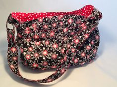 Black, Red and White Daisy Steph in the City Bag by Uniquely Michelle