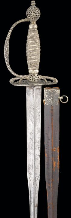AN ENGLISH SILVER-HILTED SMALL SWORD, LONDON, 1771, MAKER'S MARK OF WILLIAM KINMAN Swords And Daggers, Knives And Swords, Small Sword, Types Of Swords, Sword Design, Sword Fight, Bow Arrows, Arm Armor, Cold Steel