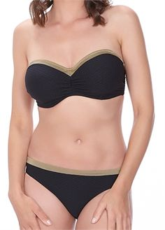 Fantasie Swim | Monaco Black Bandeau Bikini Top | FS6188 | Available from a  D - G cup www.leialingerie.com
