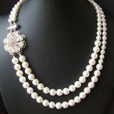 Vintage Bridal Necklace, Wedding Jewelry, Crystal Flower Necklace, Pearl Bridal Jewelry, KATHERINE. $92.00, via Etsy.