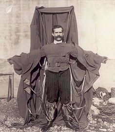 Franz Reichelt (1879-1912) a.k.a. the Flying Tailor, was a tailor, inventor and parachuting pioneer. He had become fixated on developing a suit for aviators. Finally convinced of his own design he asked the Parisian Police permission to conduct a test by jumping from the Eiffel Tower. This photograph shows Reichelt before he jumped to his death.