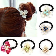 NT Exquisite Fashion Pearl Hair Band Rope Elastic Ponytail Holder Flower Hot in Clothing, Shoes, Accessories, Women's Accessories, Hair Accessories   eBay