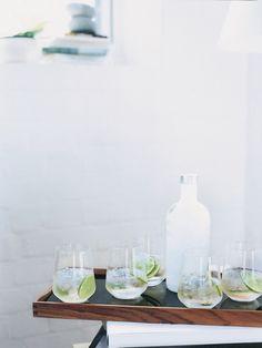 vanilla apple crush - apple juice, vanilla-flavored vodka, crushed ice, lime slices