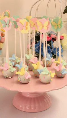 Butterflies Birthday Party cake pops!  See more party planning ideas at CatchMyParty.com!