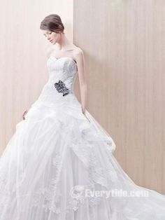 Brilliant Ball Gown Sweetheart Floor-length Appliques Organza Hall Wedding Dresses #bride,  style