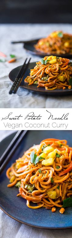 Vegan Coconut Curry with Spiralized Sweet Potato Noodles – This curry is ULTRA creamy and loaded with veggies, for a quick and easy, healthy dinner that is gluten free and vegan friendly! |