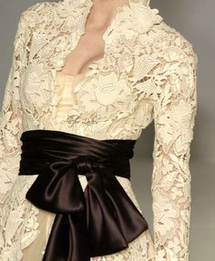 Lace dress with a large satin sash and bow - Givenchy (ivory belt instead)