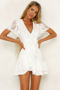 We believe you should always start your day looking amazing! That's why we're hooking you up with the latest trends and fashion with our versatile range of day dresses, catering to every mood. Let us make your day, shop Hello Molly day dresses. Hoco Dresses, Sexy Dresses, Cute Dresses, Women's Dresses Casual, White Homecoming Dresses, Flower Dresses, Winter Dresses, White Lace Shorts, White Romper