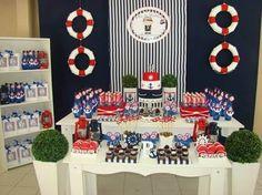 Resultado de imagem para festa Menino Marinheiro Azul e Vermelho
