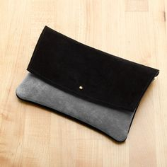 Grey and Black Suede Leather Envelope Clutch, Ipad Sleeve, Tablet Sleeve on Etsy, £45.38
