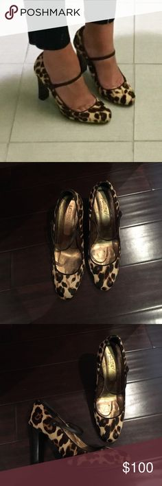 J. Crew Leopard print Mary Jane heels J. Crew Leopard Mary Jane Heels. 3 1/2 inch heel. Gently used. Comes with box and dust bag. J. Crew Shoes