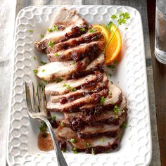 Moist Cranberry Pork Roast Recipe -I love to serve guests this tender, flavorful pork. You don't have to toil away in the kitchen to prepare it, yet it tastes like a gourmet meal. Pork Roast Recipes, Pork Tenderloin Recipes, Slow Cooker Recipes, Gourmet Recipes, Dinner Recipes, Cooking Recipes, Slow Cooker Beef, Gourmet Meals, Pork Loin