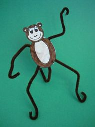 Bendable Monkey using pipe cleaners and a printable template - would be cute to make several and hang them together.  : )