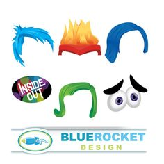 Inside Out 6 Photo Booth Props  Instant by DesignBlueRocket