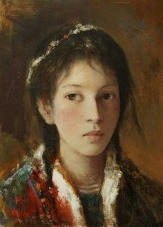 """Tang Wei-Min — Silk Road' Series,  c. 2000-2010. Painting: Oil on canvas. Also see Tajik Bride by Jin Shangyi """"Tang Wei Min [唐伟民] was born in 1971 in Hunan, China, where he went on to study oil painting at undergraduate and graduate levels. In 2001..."""