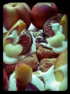 French cakes with cream and fresh fruits