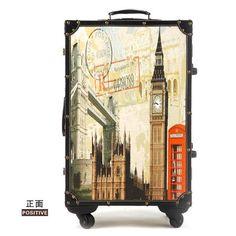 e826105c1 mala de viagem com rodinha Personalized vintage trolley luggage travel bag  trend of the universal wheels