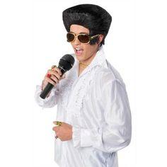 Zwarte Elvis pruik. Te combineren met een bril, microfoon en een wit overhemd of jasje. http://www.feestwinkel.nl/elvis-pruik.html