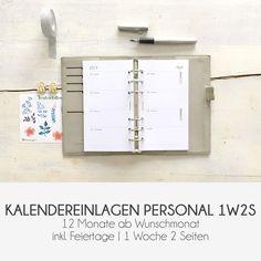 WOCHENPLANER PERSONAL | Kalendereinlagen | 1 Woche 2 Seiten | 1W2S Kikki K, Organization, Journal, Paper, Minimalist Design, Getting Organized, Organisation, Journal Entries, Journals