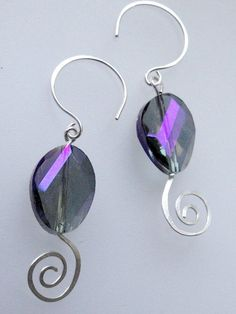 Color Changing Crystal Spiral Earrings by fatdogbeads on Etsy, $18.00