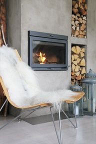 Love the wood storage solution with this fireplace! Exterior Fireplace, Home Fireplace, House Inspiration, Living Dining Room, Fireplace Design, Interior, Interior Architecture Design, House Interior, Home Deco