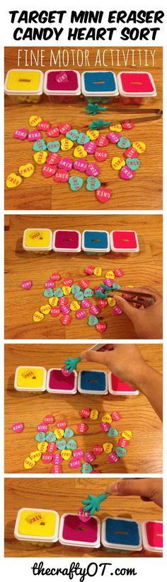 Fine motor candy heart sort, Target mini erasers, valentine's day 2018, valentine's day activities, hand strengthening, hand endurance, sorting, color sort, matching, tongs, kids activities, kids games, valentine's day games, occupational therapy, fine motor kids, pedsot #occupationaltherapy #target