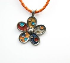 Colourful metal flower pendant by twocatsboutique on Etsy, $20.00