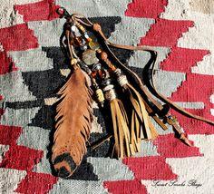 Gemstones & leather art bag charm key charm bag by SweetSmokebags