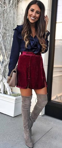how to style a blouse : red velvet skirt + bag + over knee boots