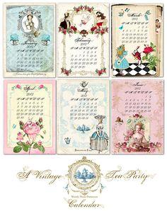 2012 Desk Calendar A #Vintage Tea Party with Marie Antoinette Jane Austen and Alice In Wonderland