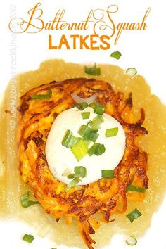 Gluten Free Butternut Squash Latkes with Ginger Applesauce and Curried Sour Cream!