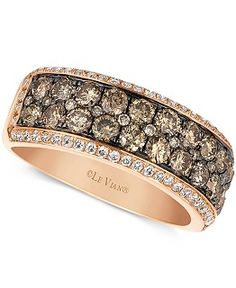 Le Vian Chocolate and White Diamond Band (1-5/8 ct. t.w.) in 14k White Gold - Rings - Jewelry & Watches - Macy's