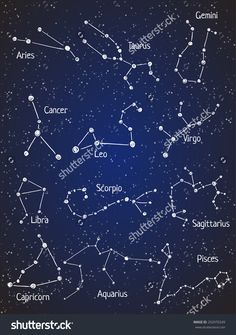 Set Of Zodiac Constellations. Vector Space And Stars Illustration. - 292970249 : Shutterstock