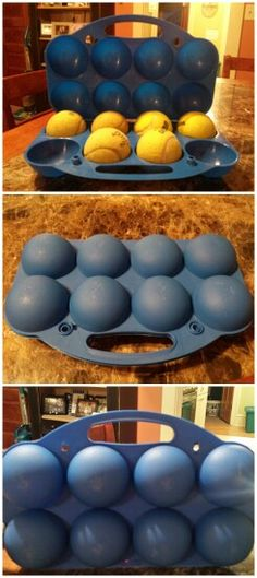 A snowball maker from bed, bath, and beyond, used as a tennis ball carrier in the summer. The balls fit perfectly.